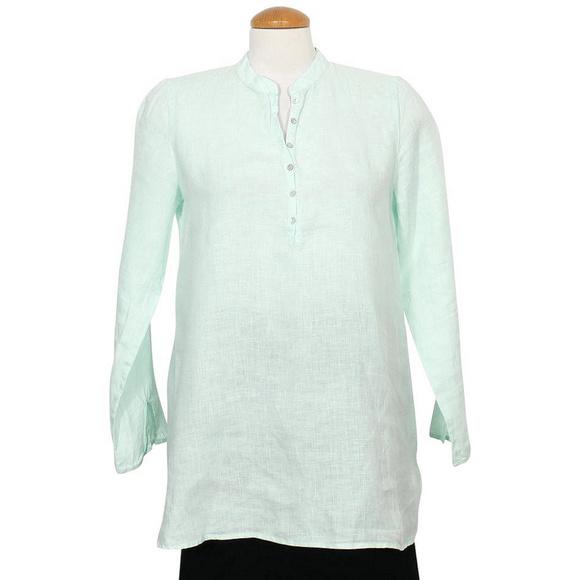 COPY - Green Organic Handkerchief Linen Mandarin …